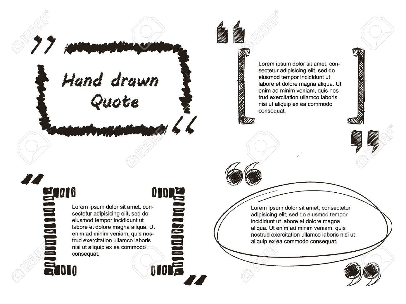 Vector Illustration of Quote hand drawn for Design, Website, Background, Banner. Note bubble symbol Element Template - 48124189