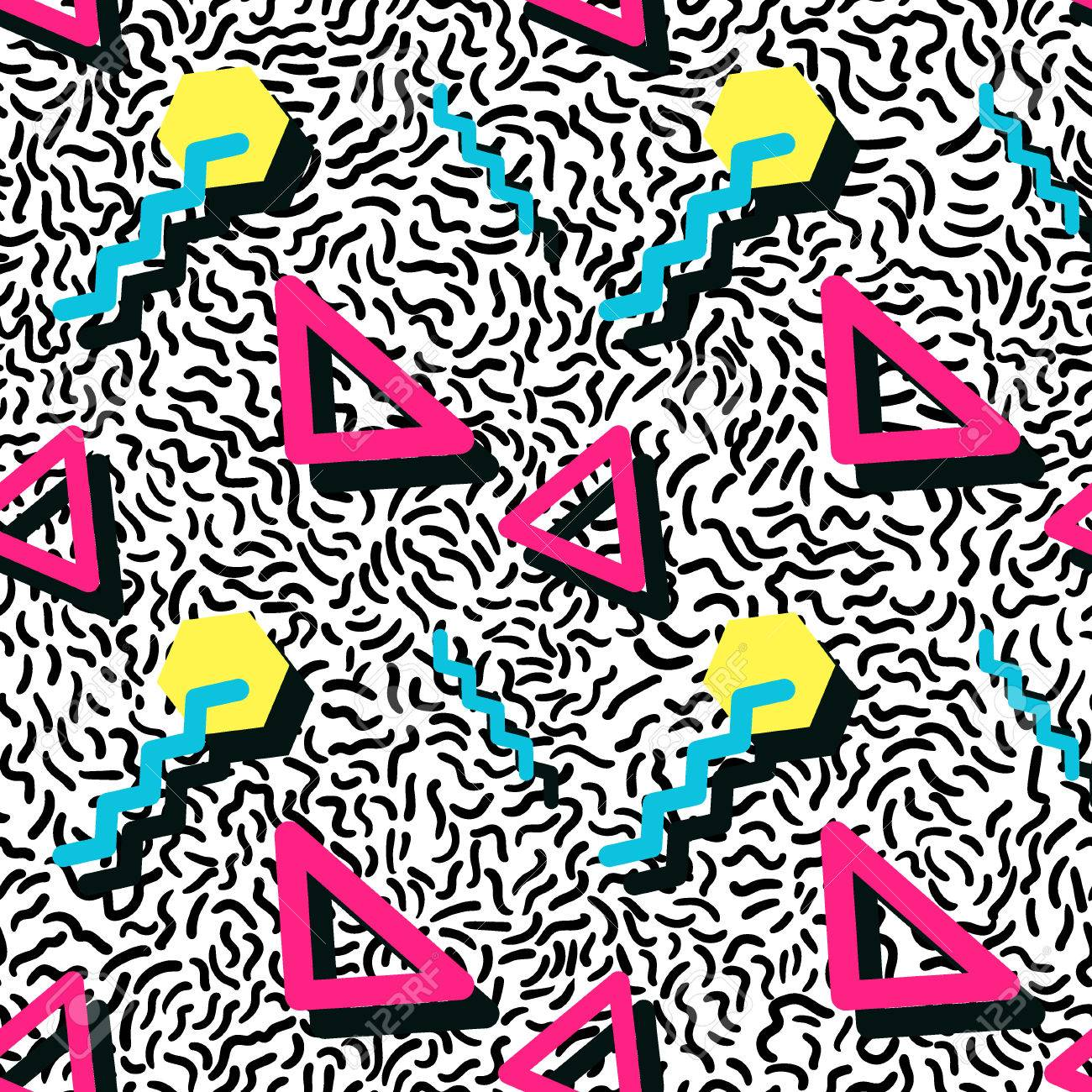 Vector Illustration of Seamless pattern in memphis style Design, Website, Background, Banner. Retro abstract geometric Element Template. 80s 90s style - 49455431