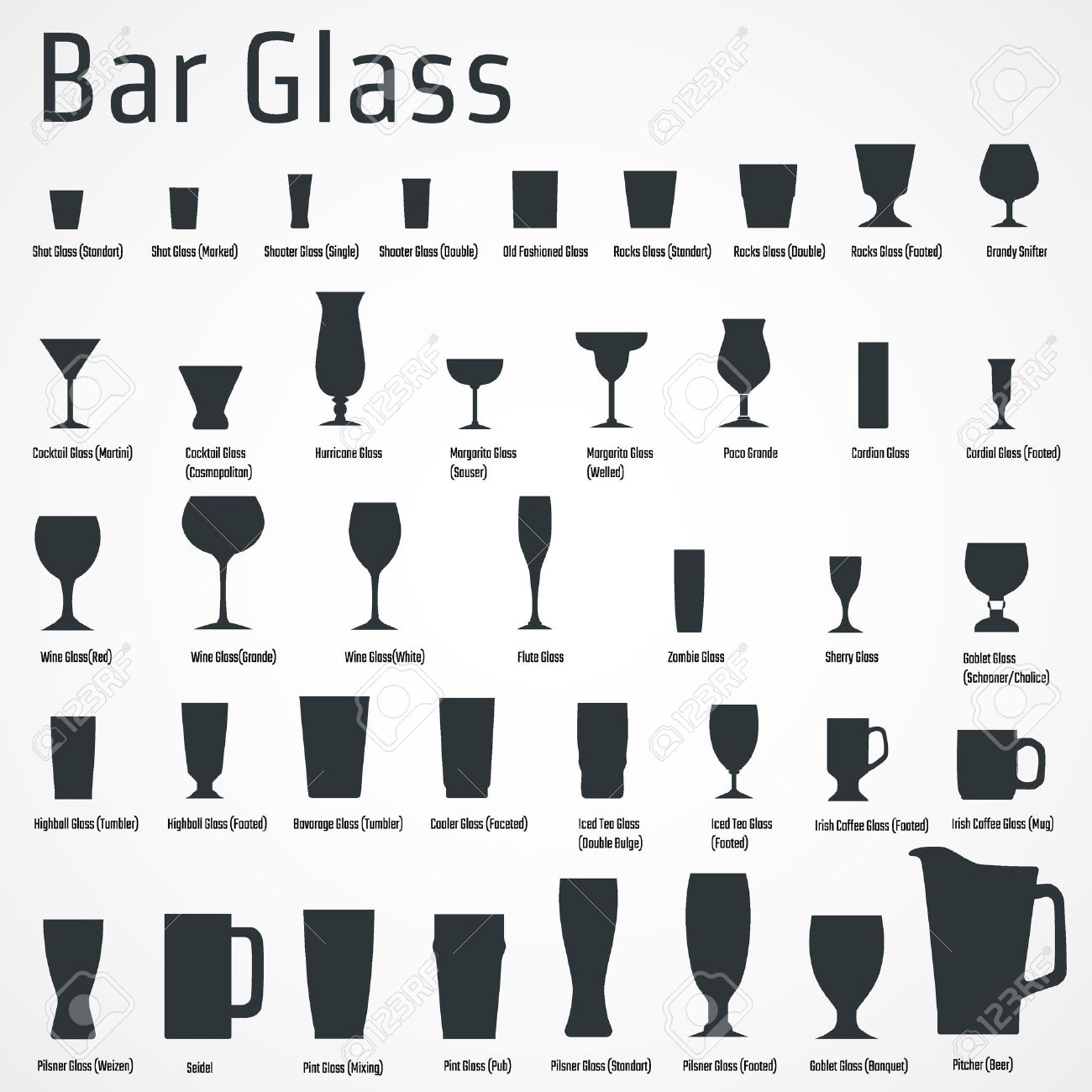 Vector Illustration of silhouette Set of Bar Glasss for Design, Website, Background, Banner. Restaurant Element Isolated Template for Menu. Vodka, Beer, Whiskey, Wine for Infographic - 49779969