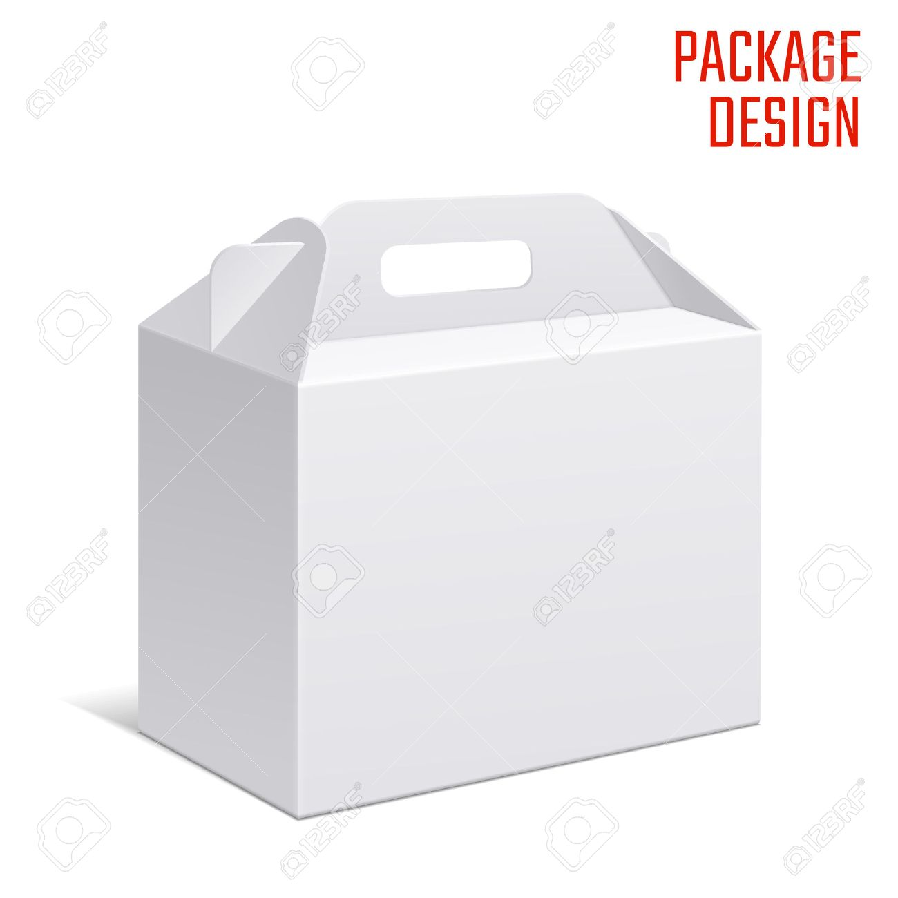 Vector Illustration of Clear Gift Carton Box for Design, Website, Background, Banner. White Habdle Package Template isolated on white. Retail pack with for your brand on it - 49779994