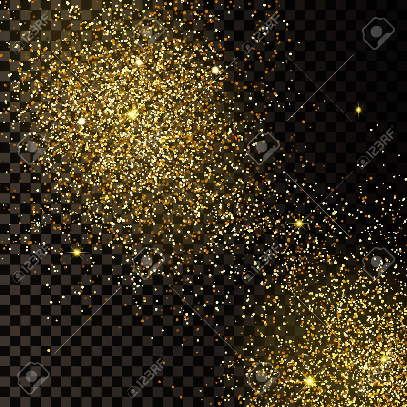 Gold glitter bright vector transparent background golden sparkles - Vector Vector Illustration Of Golden Confetti Background For Design Website Background Banner Gold Sparkle Element For Greeting Card Or Premium Flyer