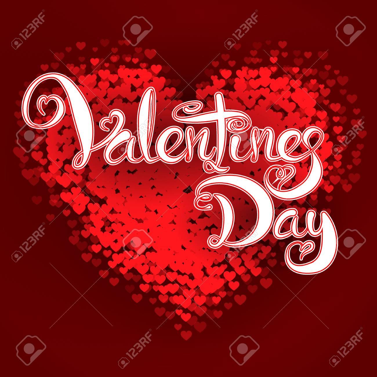Vector Illustration Of Valentines Day Lettering Card For Design ...
