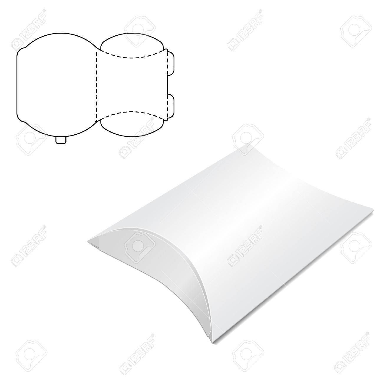 Vector Illustration of Pillow craft Box for Design, Website, Background, Banner. Folding package Template. Fold pack with die line for your brand on it - 51583291
