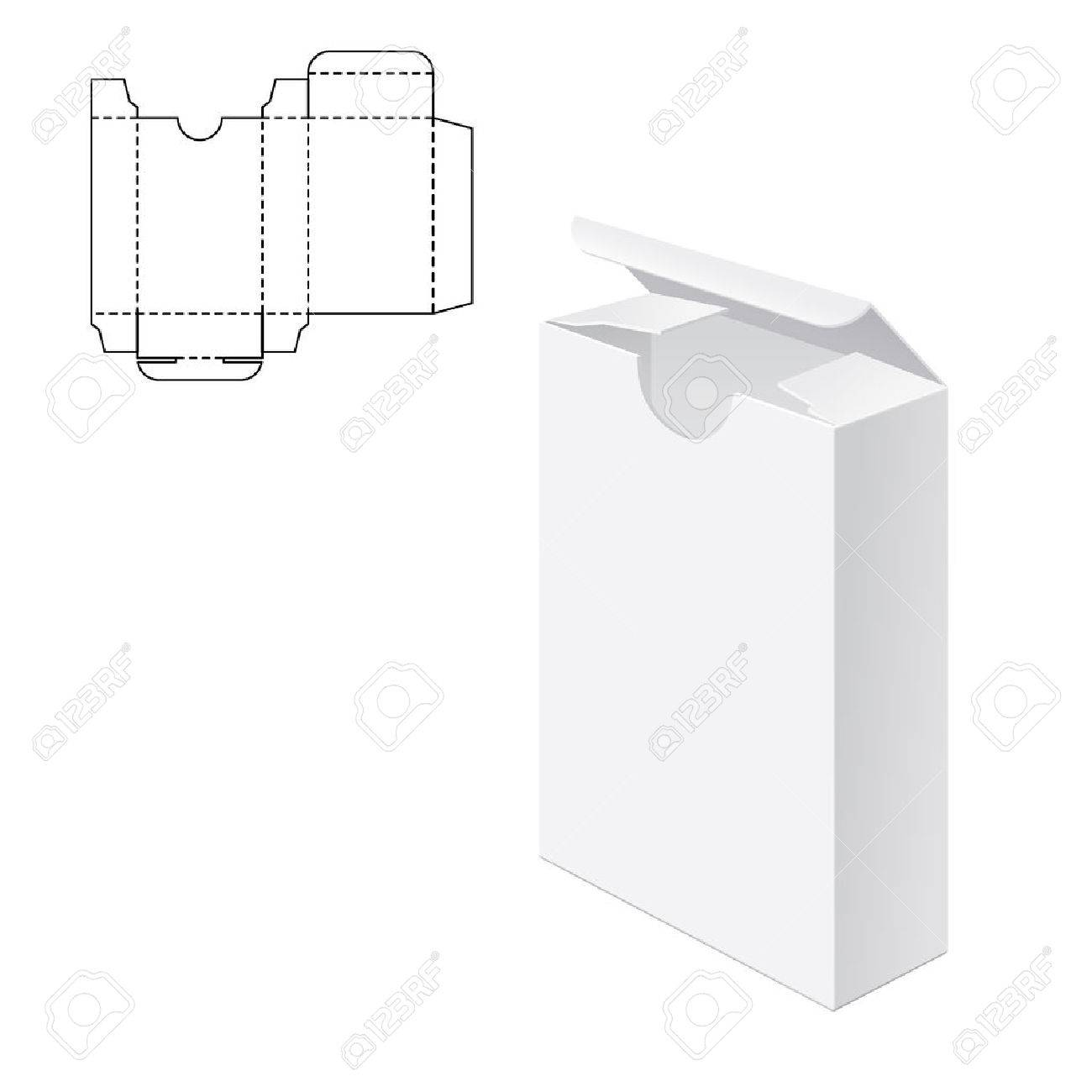 Vector Illustration of Gift craft Box for Design, Website, Background, Banner. Folding package Template. Fold pack with die line for your brand on it - 51583359