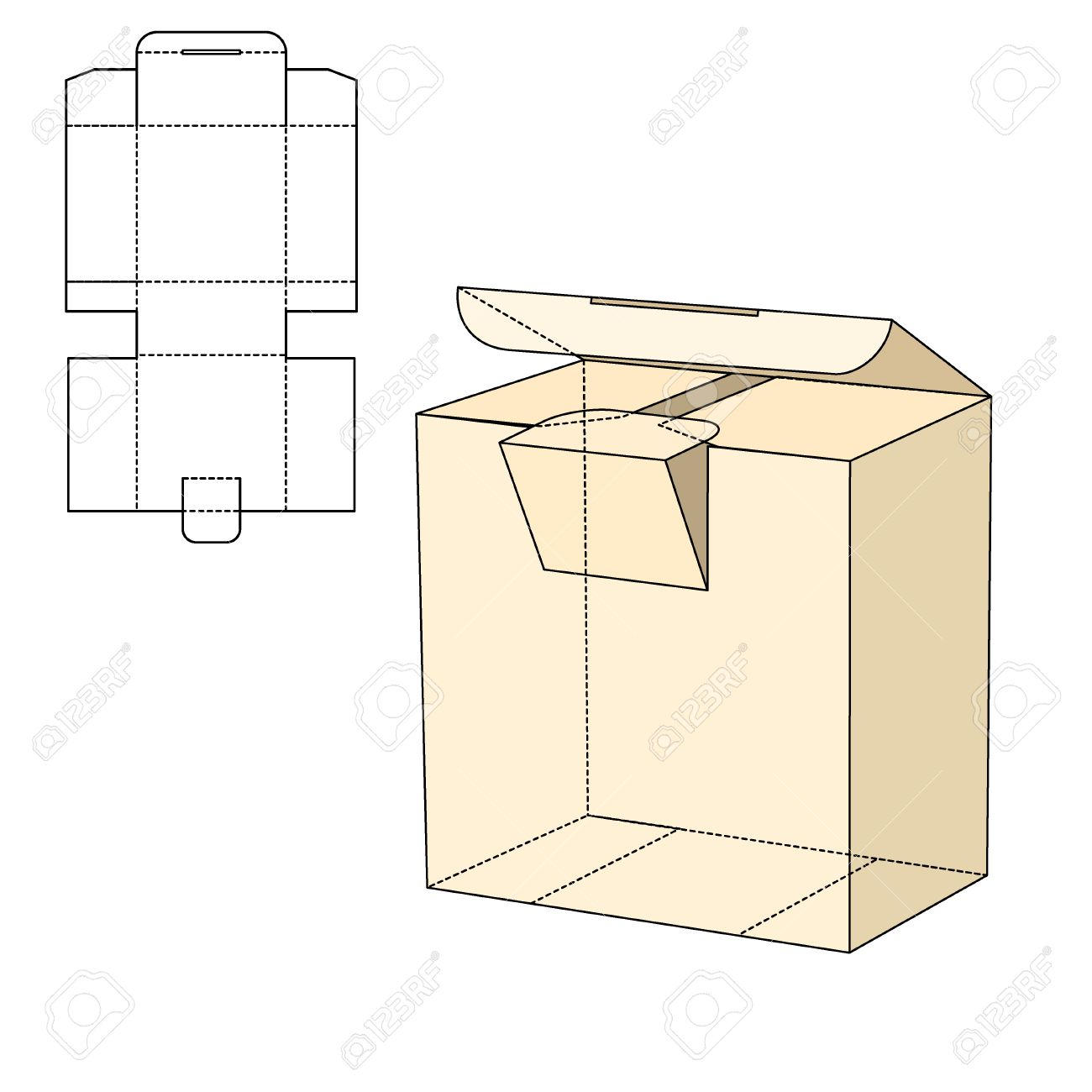 Vector Illustration of Diecut Craft Box for Design, Website, Background, Banner. Retail Folding package Template. Fold pack with dieline for your brand on it - 51583386