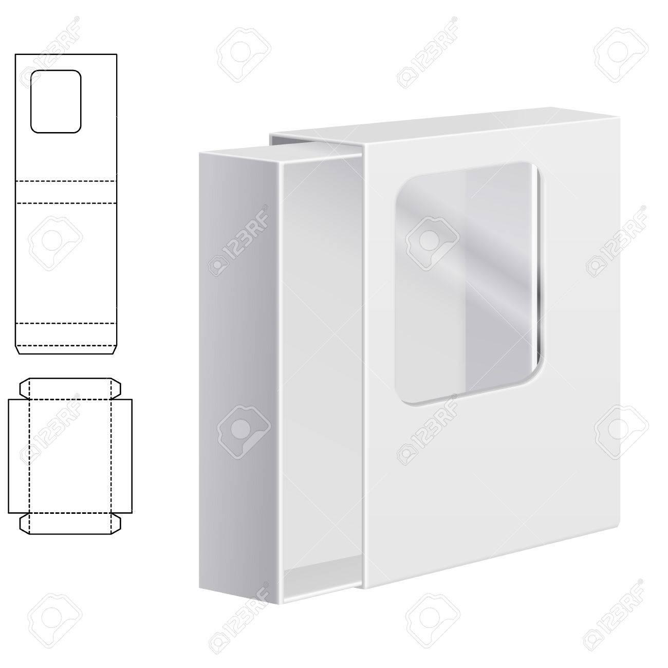 Ilustración De Claro Dieline Plegable Caja De Cartón Con Ventana De ...