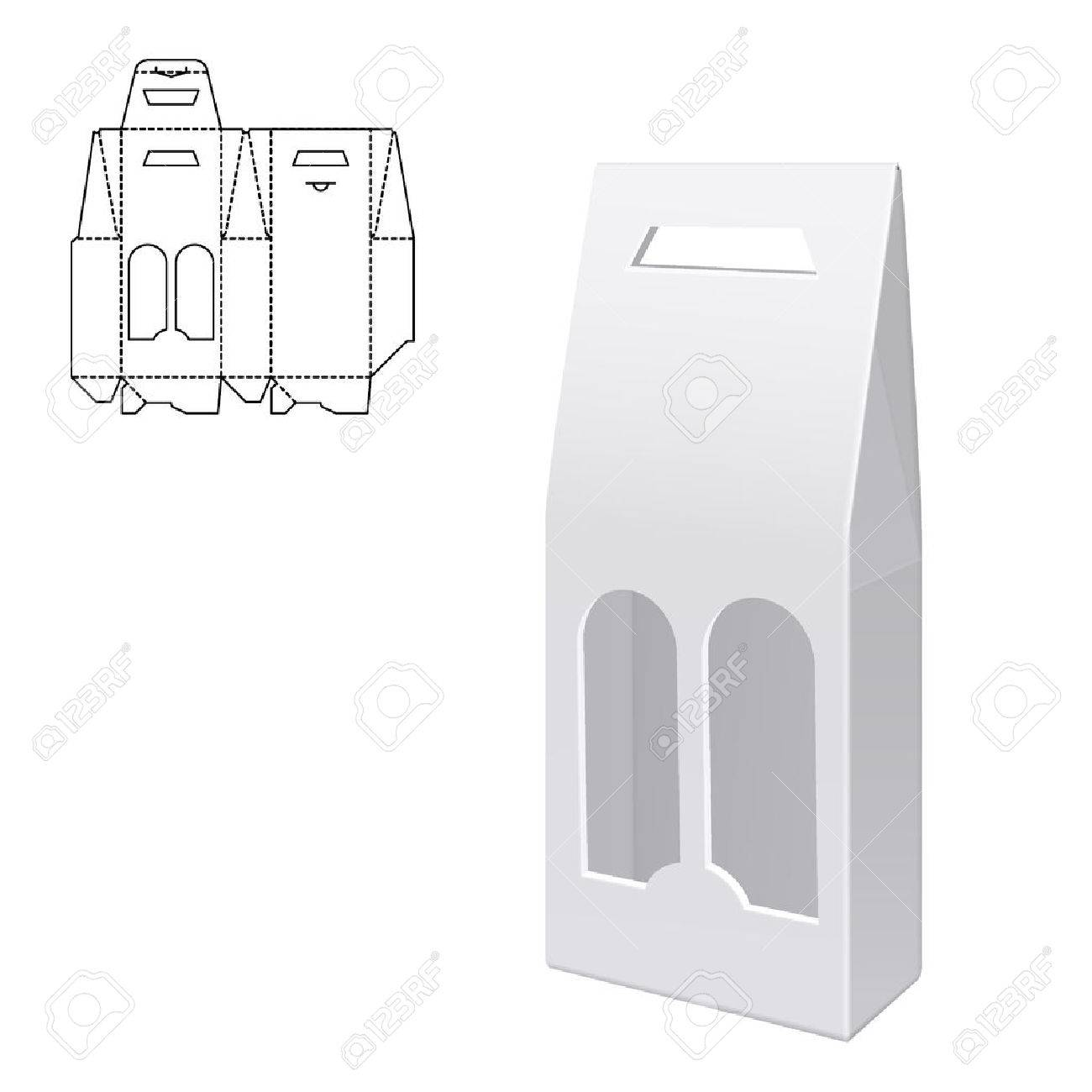 Vector Illustration Of Gift Die Cut Craft Box For Design Website