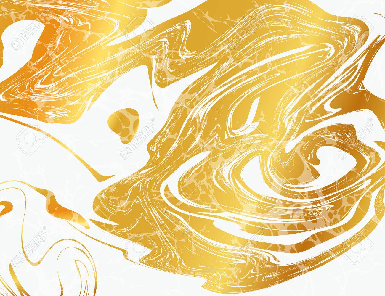 Vector Illustration of Marbling Texture for Design, Website, Background, Banner. Ink Liquid Element Template. Watercolor Pattern. Gold and Black - 53292230