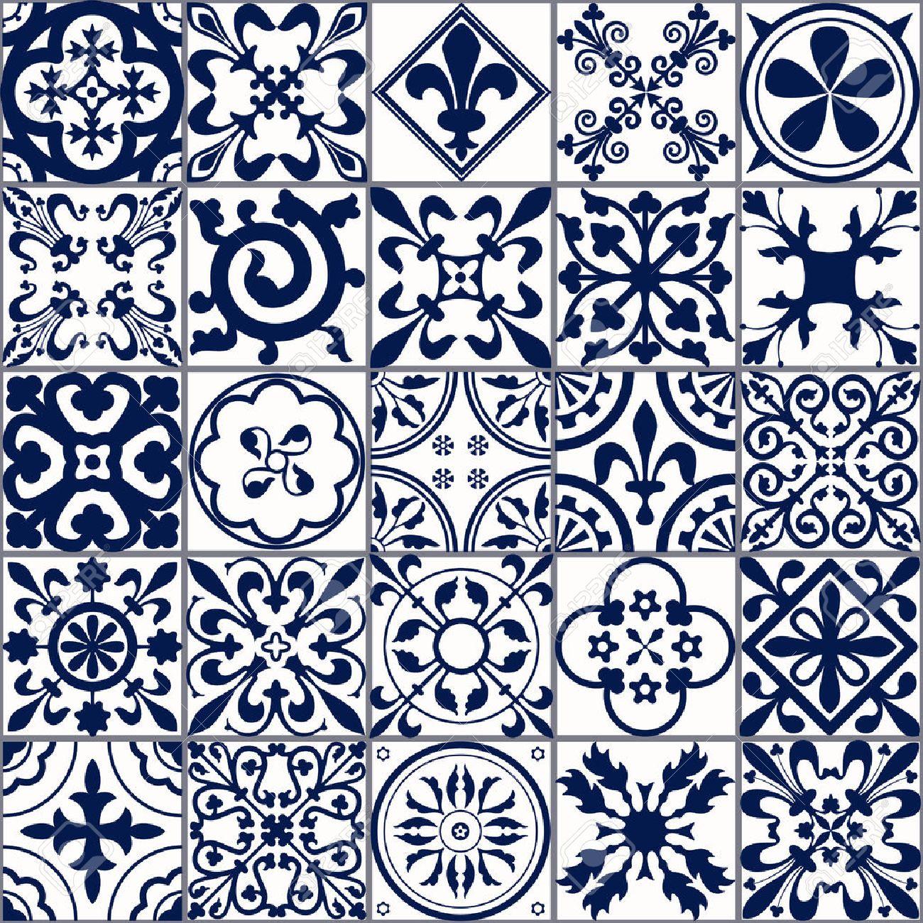 ベクトル図のモロッコ タイルのデザイン 背景 バナーのシームレスなパターン 壁紙 セラミック 繊維のスペインの要素です 中世飾りテクスチャ テンプレート 白と青のイラスト素材 ベクタ Image 5440
