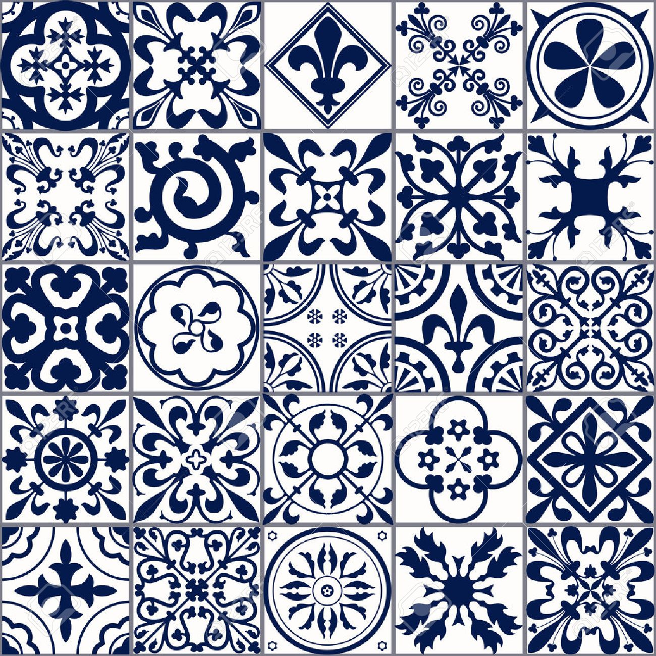 Vector Illustration of Moroccan tiles Seamless Pattern for Design, Website, Background, Banner.Spanish element for Wallpaper, Ceramic or Textile. Middle Ages Ornament Texture Template. White and Blue - 54828840