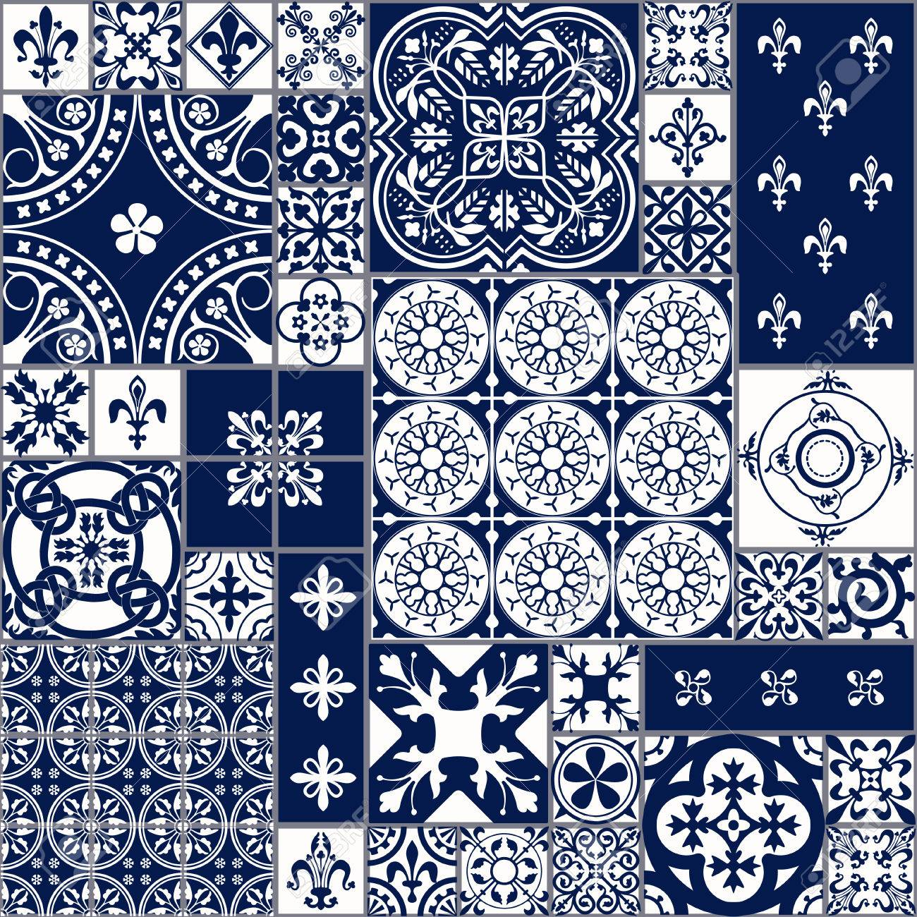 Vector Illustration of Moroccan tiles Seamless Pattern for Design, Website, Background, Banner. Spanish element for Wallpaper, Ceramic or Textile. Middle Ages Ornament Texture Template. White and Blue - 54830532