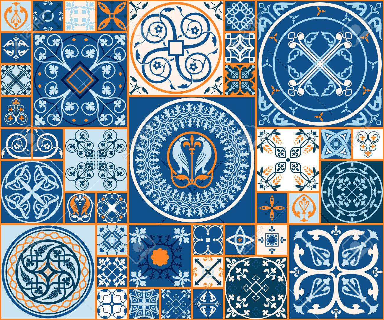 ベクトル図のモロッコ タイルのデザイン 背景 バナーのシームレスなパターン 壁紙 セラミック 繊維のスペインの要素です 中世飾りテクスチャ テンプレートのイラスト素材 ベクタ Image 5410