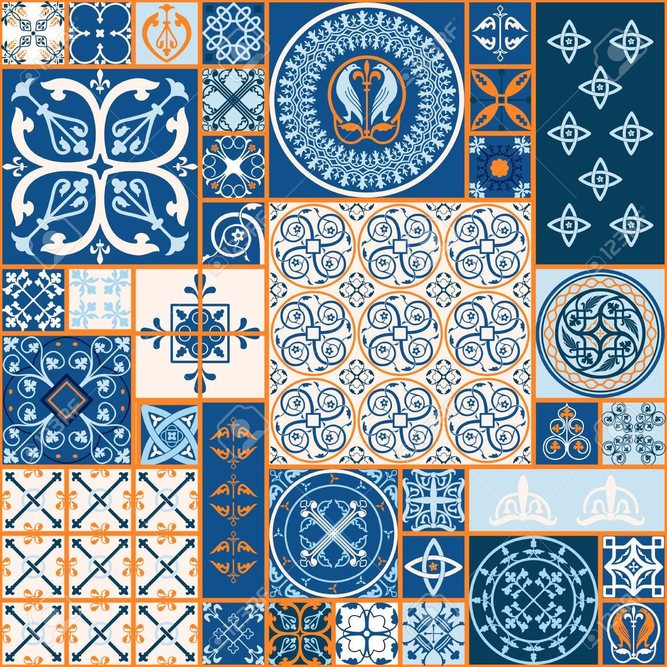 ベクトル図のモロッコ タイルのデザイン 背景 バナーのシームレスなパターン 壁紙 セラミック 繊維のスペインの要素です 中世飾りテクスチャ テンプレートのイラスト素材 ベクタ Image