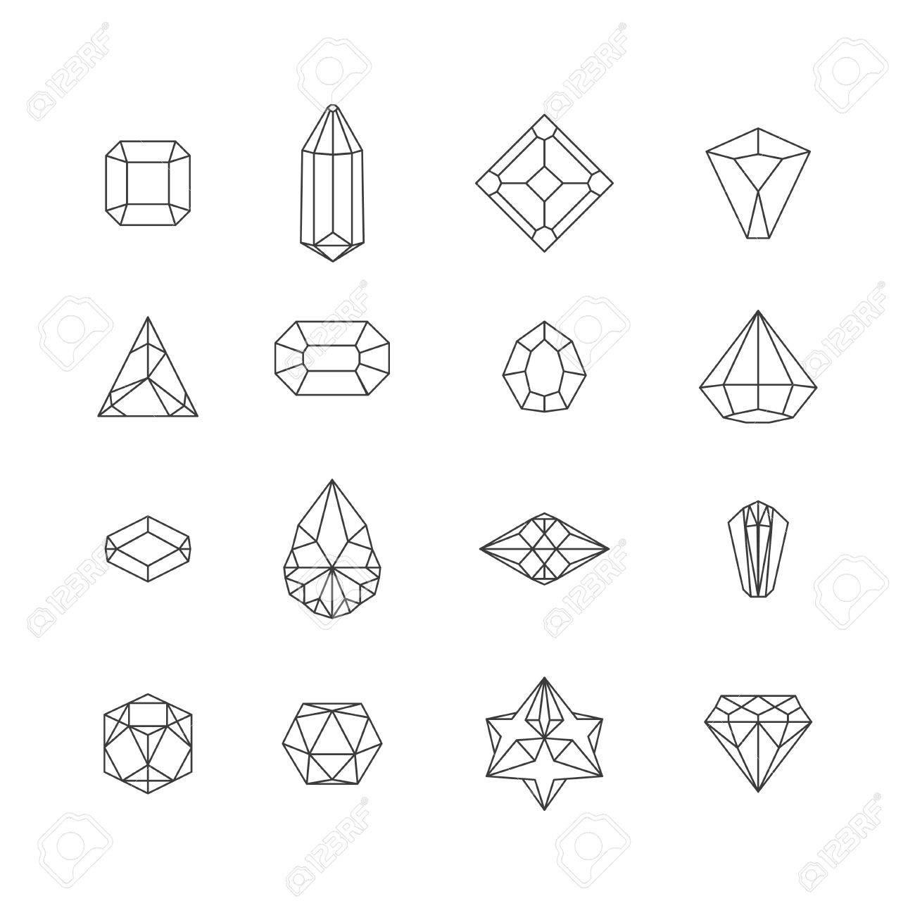 vector illustration of crystal icons for design website background