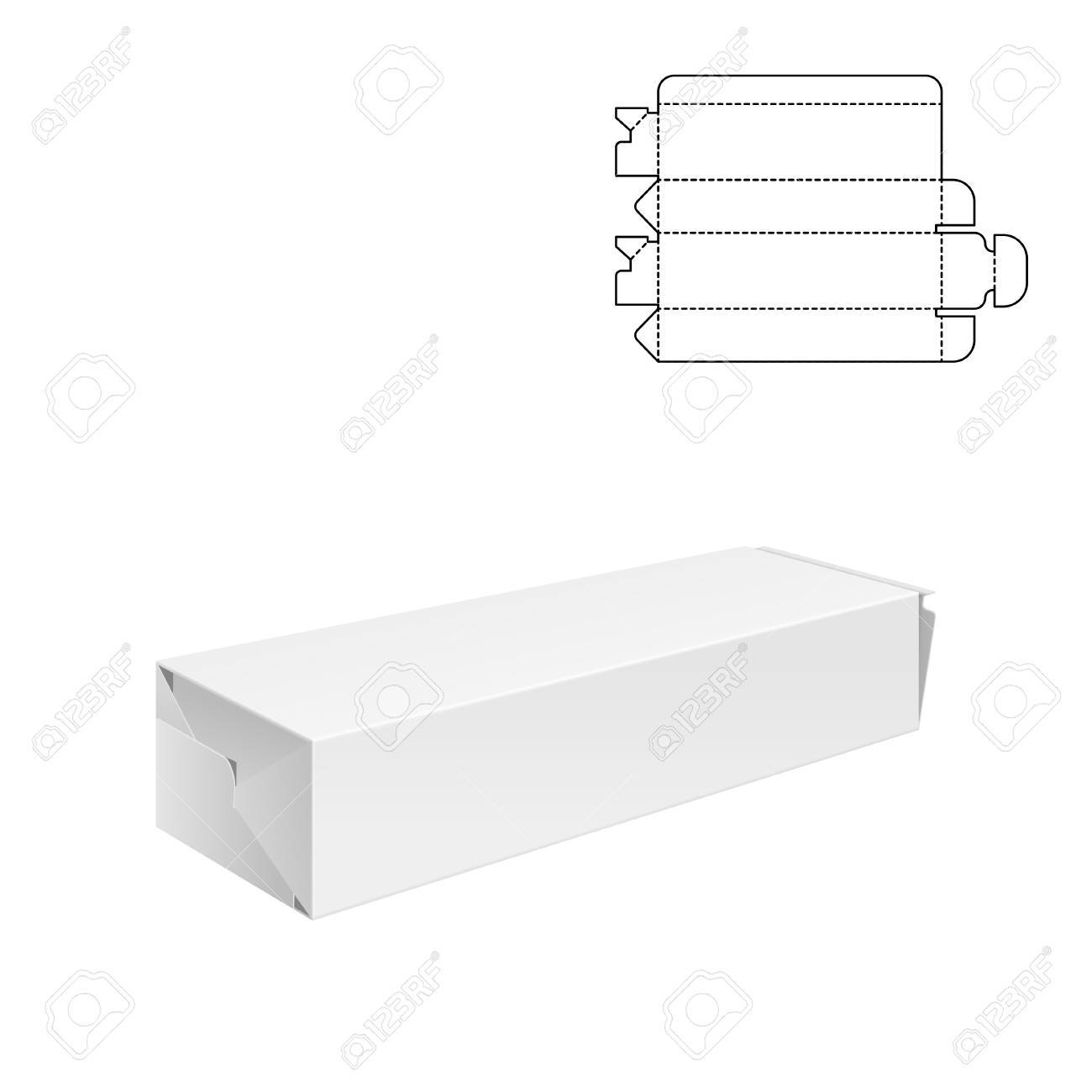 Vector Illustration of Diecut Craft Box for Design, Website, Background, Banner. Retail Folding package Template. Fold pack with dieline for your brand on it - 59868554