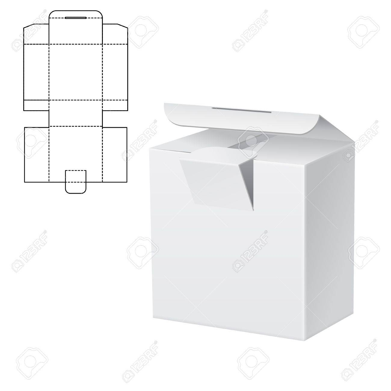 Illustration of Diecut Craft Box for Design, Website, Background. Retail Folding package Template. Fold pack with dieline for your brand on it - 64133854