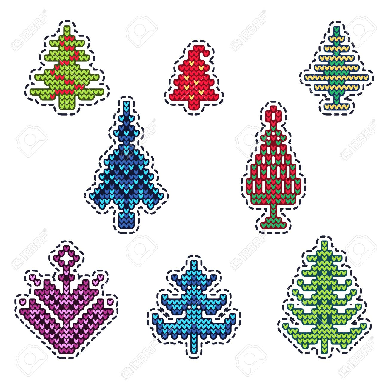 Vector Illustration Of Ugly Sweater Xmas Patches Elements For Royalty Free Cliparts Vectors And Stock Illustration Image 68036997