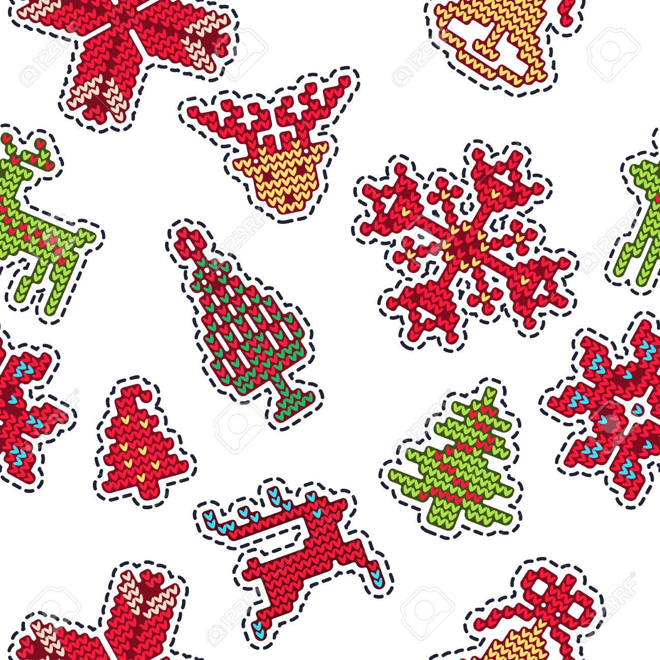 Vector Illustration Of Ugly Sweater Xmas Patches SEamless Pattern ...