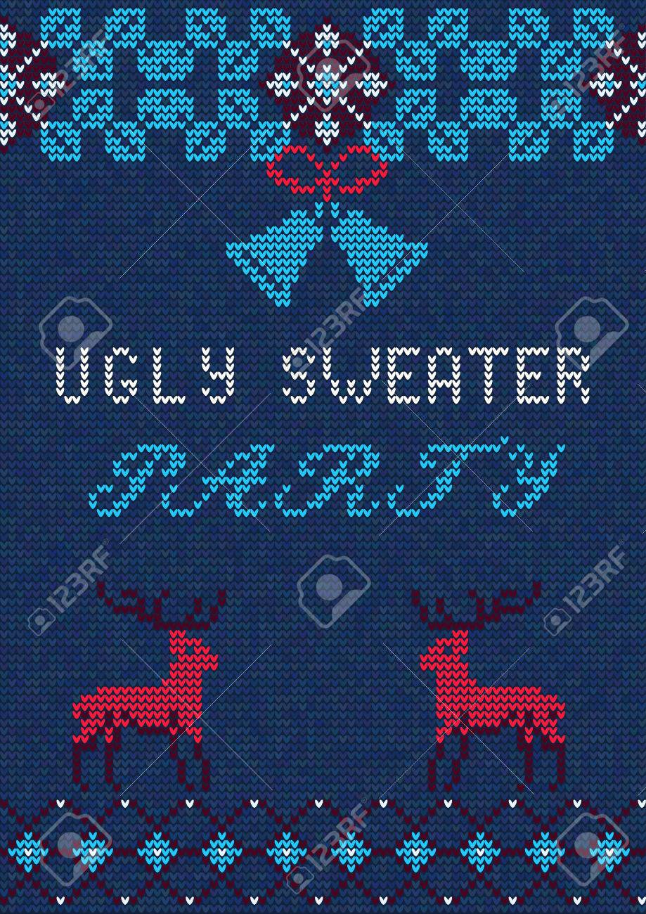Vector Illustration Of Ugly Sweater Party Greeting Card For Design - Ugly sweater flyer template free