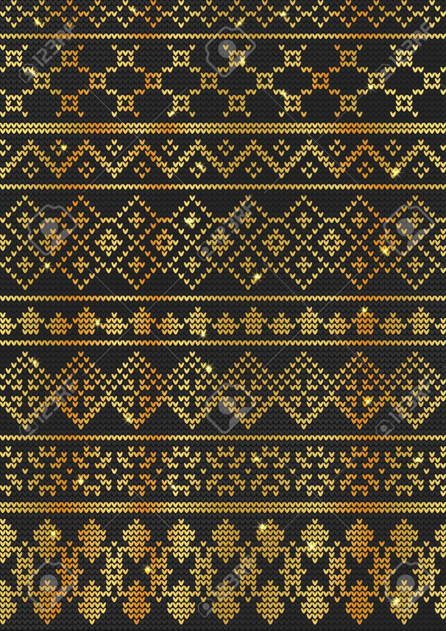 78c1fb5aa8d3 Vector - Vector Illustration of Gold Ugly sweater seamless Pattern for  Design