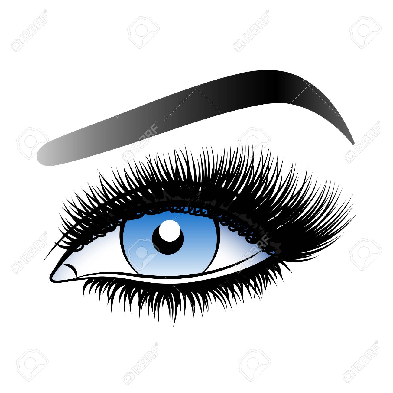 Vector illustration isolated on white background ink drawing eye makeup stock vector