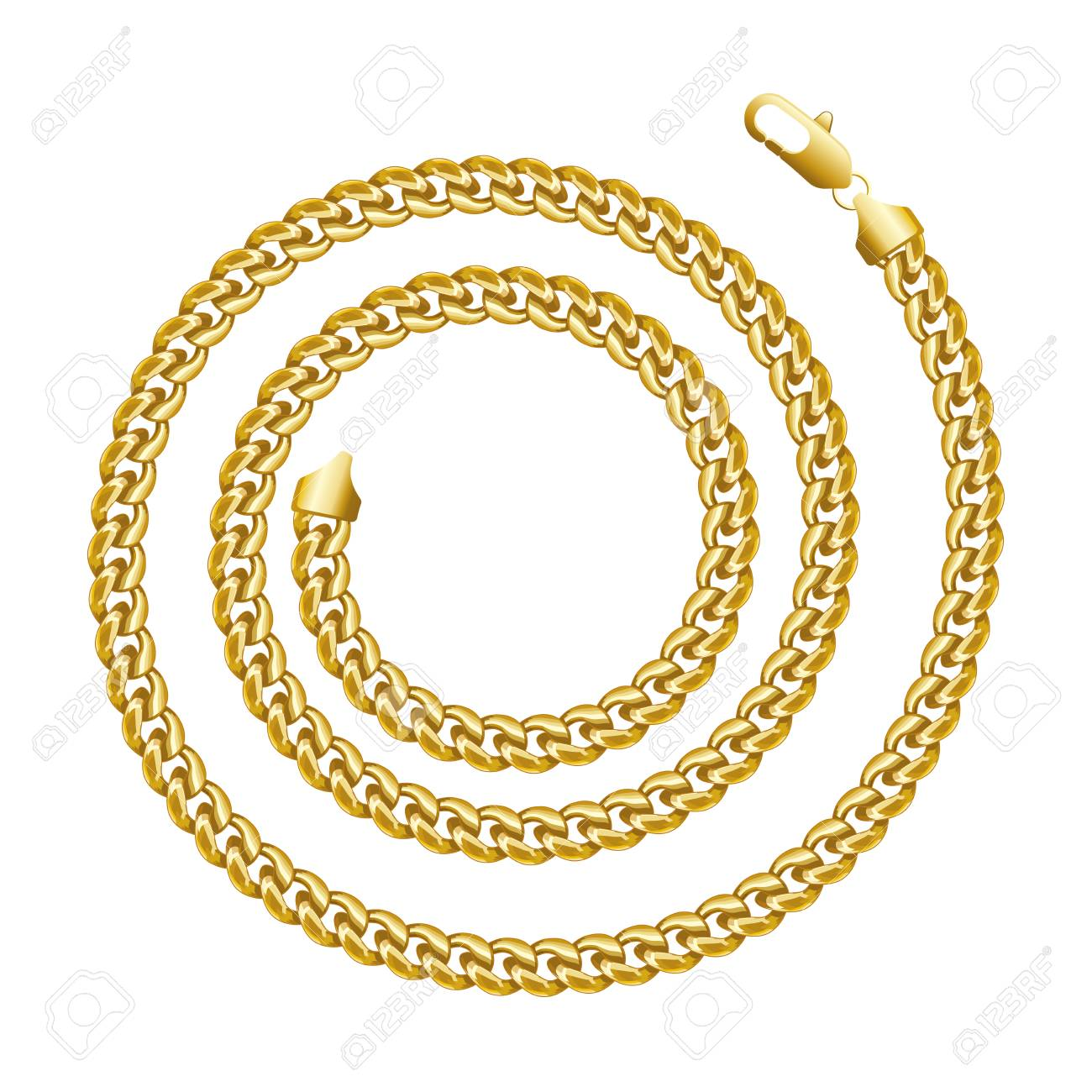 0239571251c7 Golden chain round spiral border frame. Wreath circle shape. Jewellery.  Realistic vector illustration