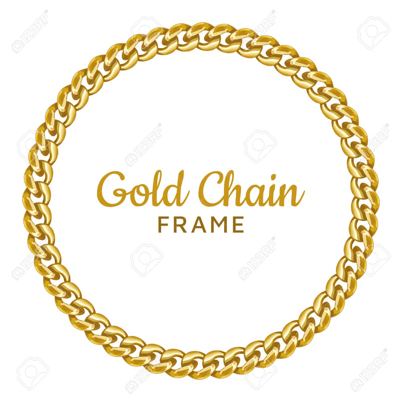 f4161734dbde Golden chain round border frame. Seamless wreath circle shape. Realistic  vector illustration isolated on