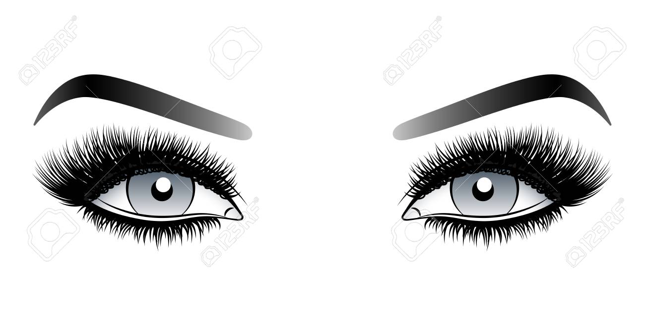 Gray woman eyes with long false lashes with eyebrows. Vector illustration isolated on white background. Ink drawing. Eye makeup. - 126311440