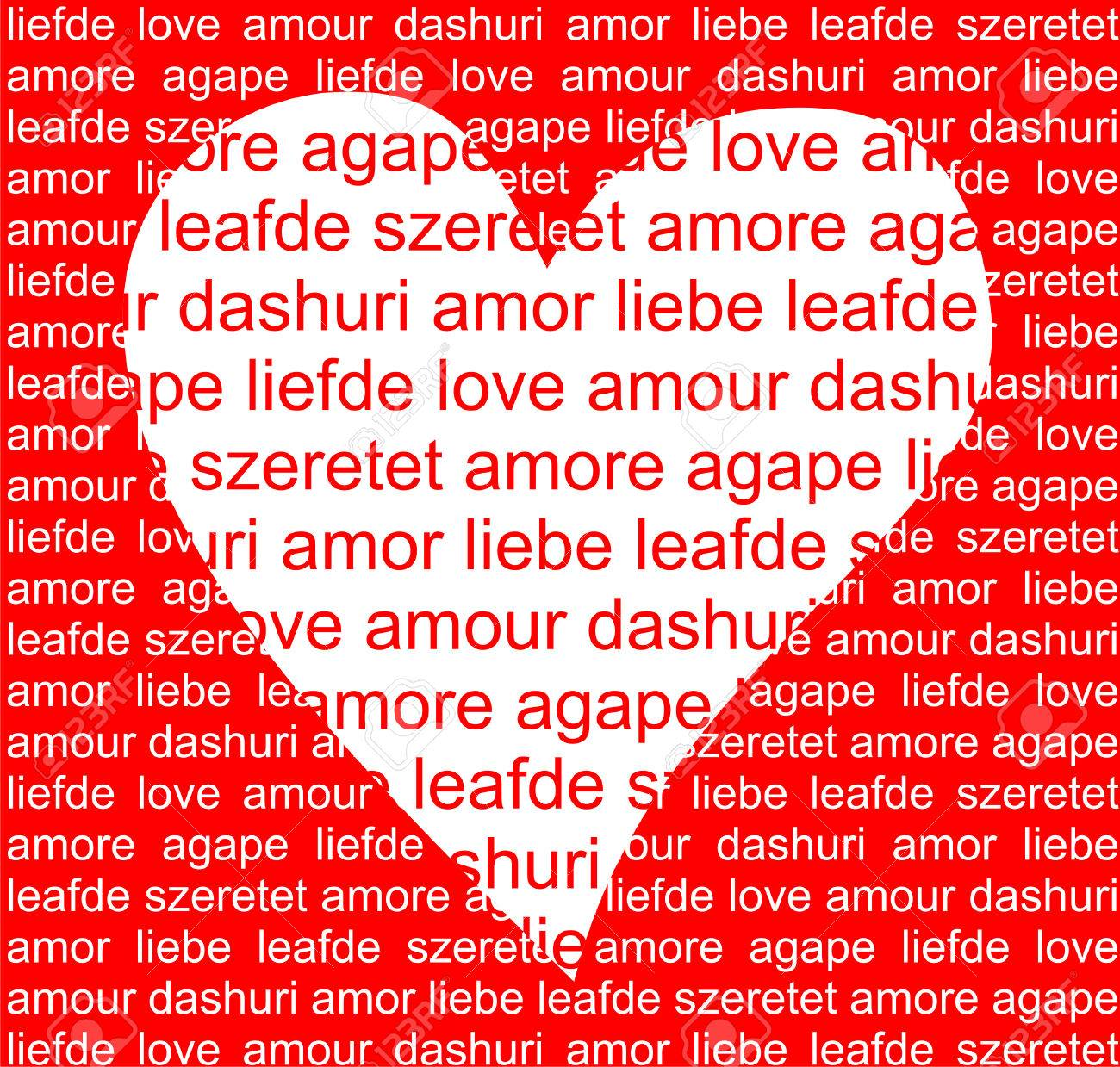 heart full of love in different languages royalty free cliparts