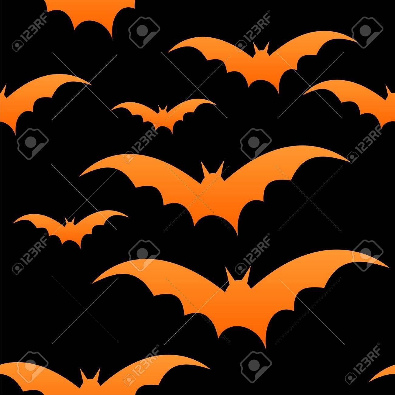 orange bats on black seamless tile halloween stock vector 10692307 - Black And Orange Halloween