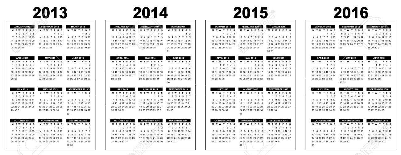 Panorama Calendario.Ilustracion De Un Calendario Basico Panorama 2013 2014 2015 2016 Imagen Vectorial Blanco Y Negro La Semana Que Comienza El Lunes