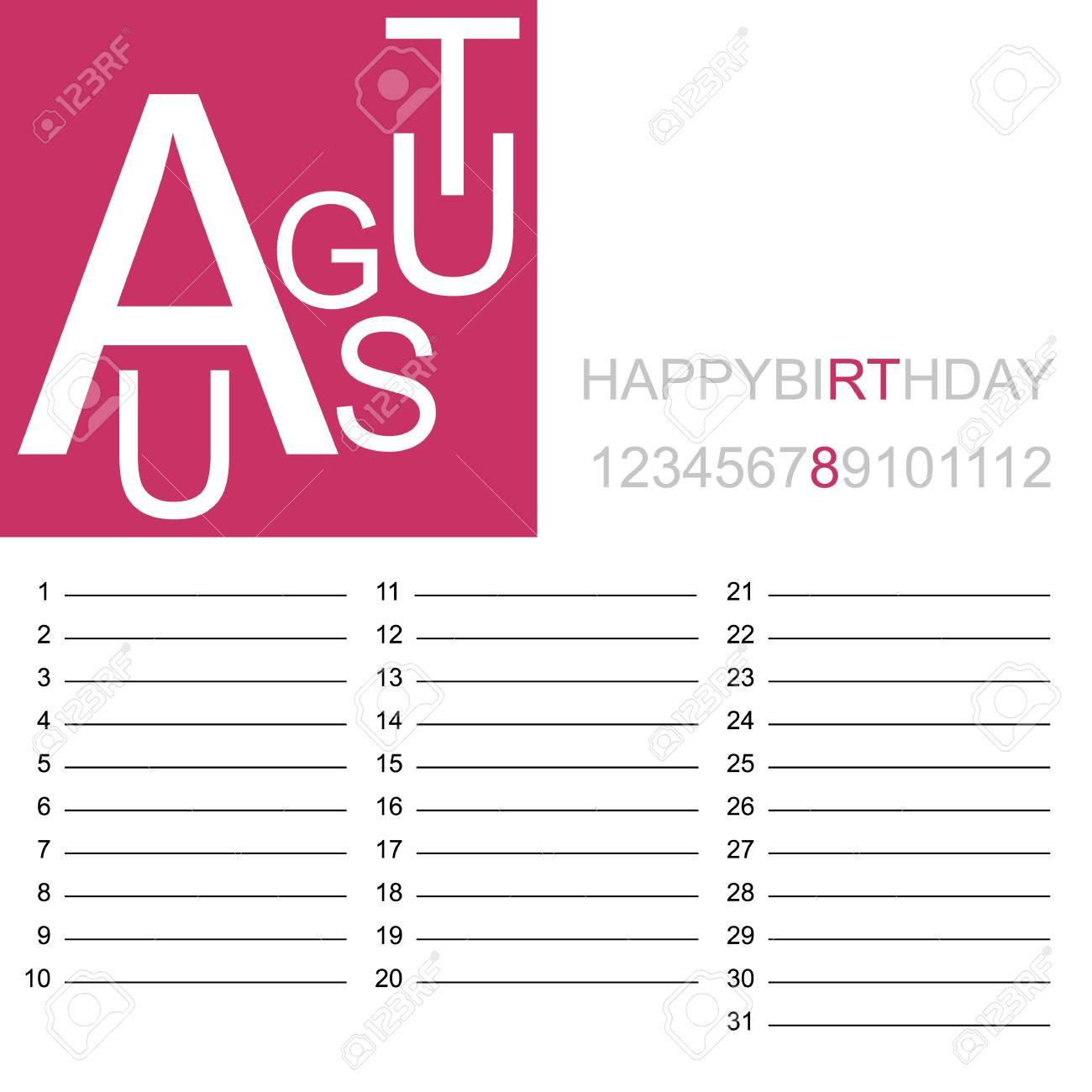 Birthday Calendar.A Jazzy Birthday Calendar August Isolated On Plain Background