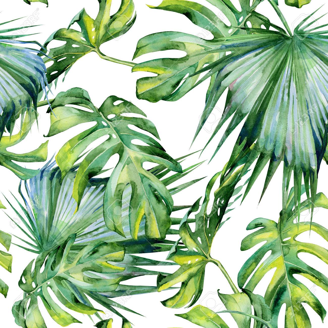 Seamless Watercolor Illustration Of Tropical Leaves Dense Jungle Stock Photo Picture And Royalty Free Image Image 65597706 Download all photos and use them even for commercial projects. seamless watercolor illustration of tropical leaves dense jungle