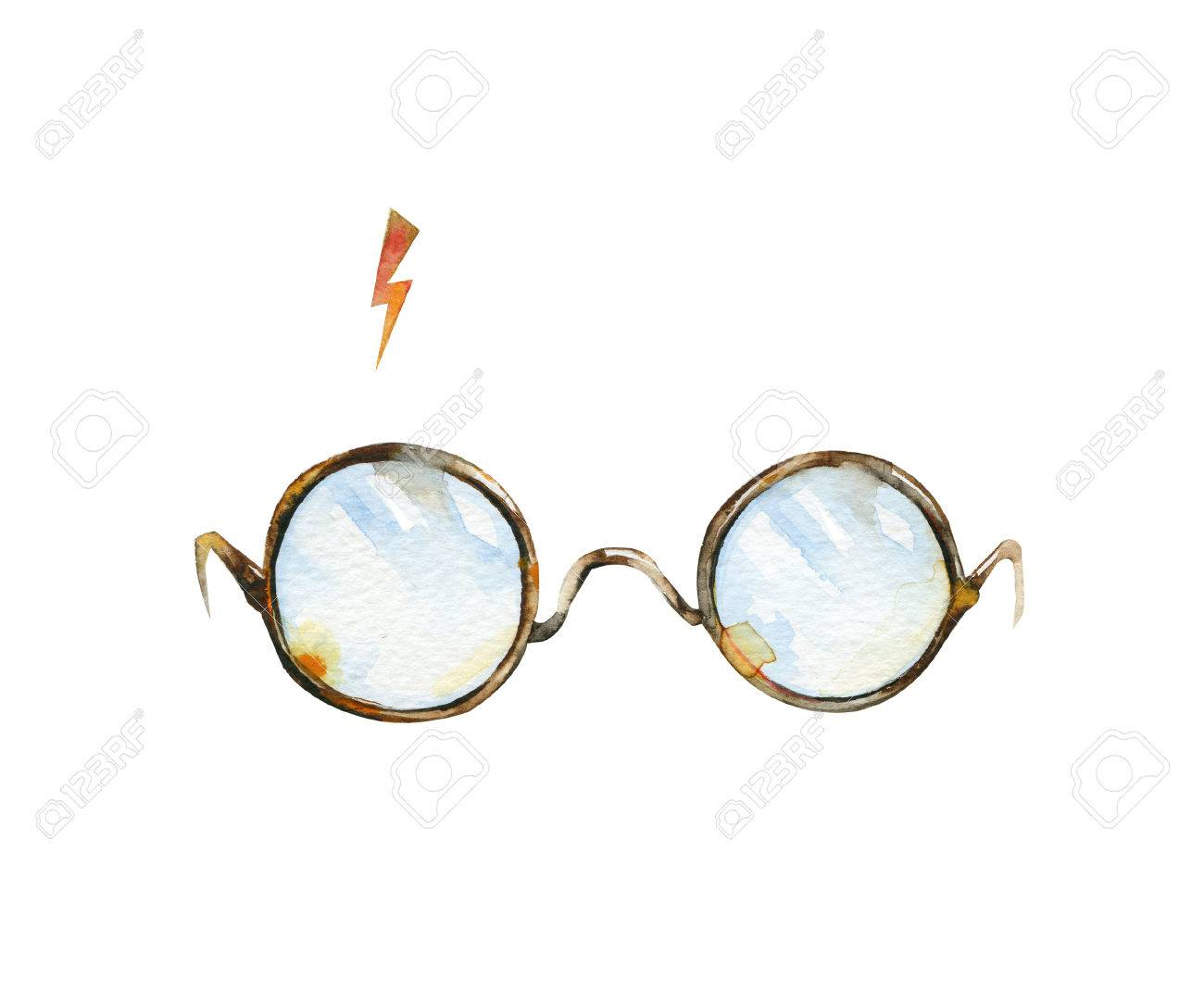 8f603c308b2 Illustration - Round glasses and lighting. Watercolor illustration. Can be  used as T-shirt print, Halloween textile decoration print, card, child wear  decor ...