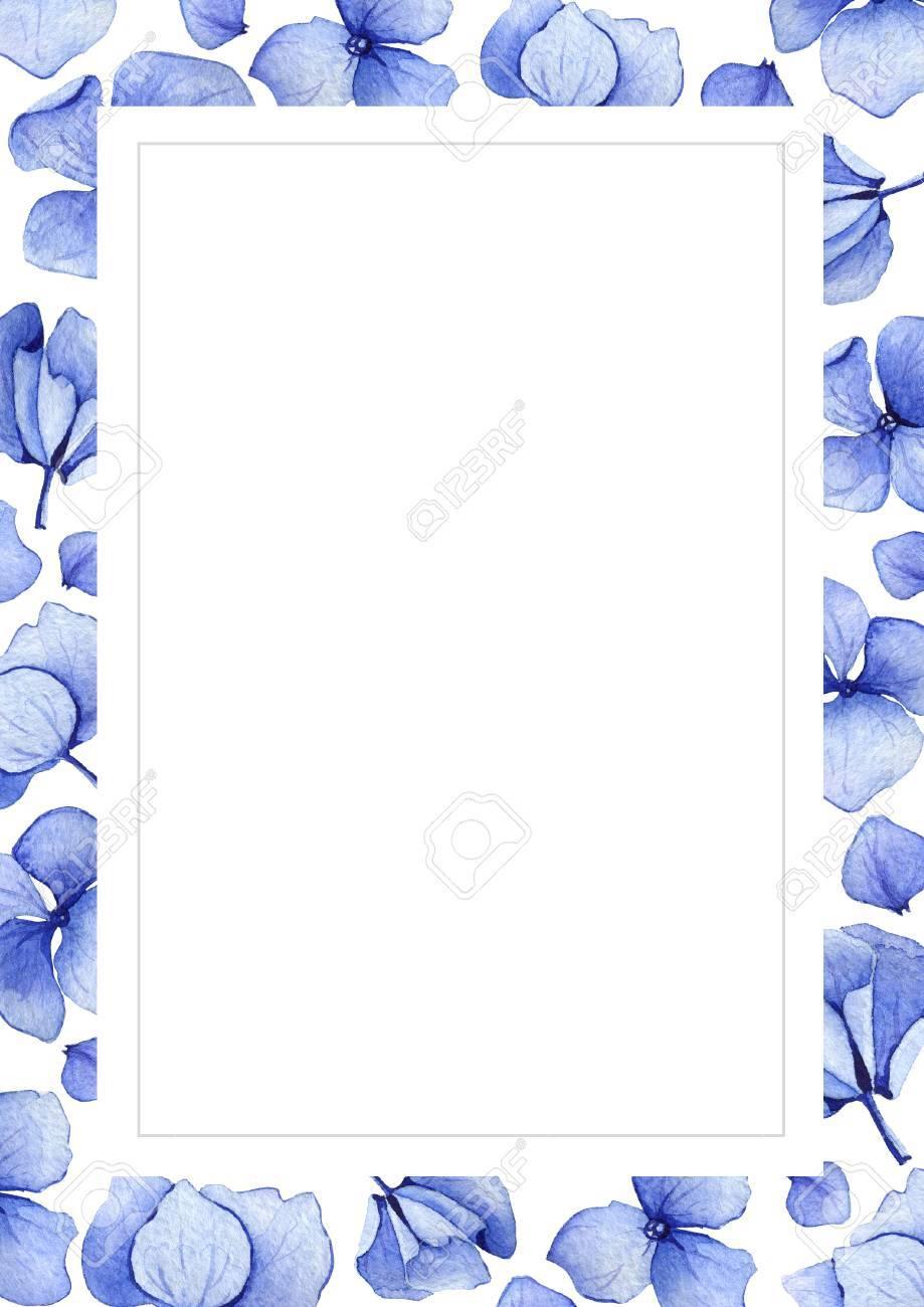 Blue watercolor hydrangea flower background floral greeting card blue watercolor hydrangea flower background floral greeting card watercolor invitation card template may stopboris Gallery