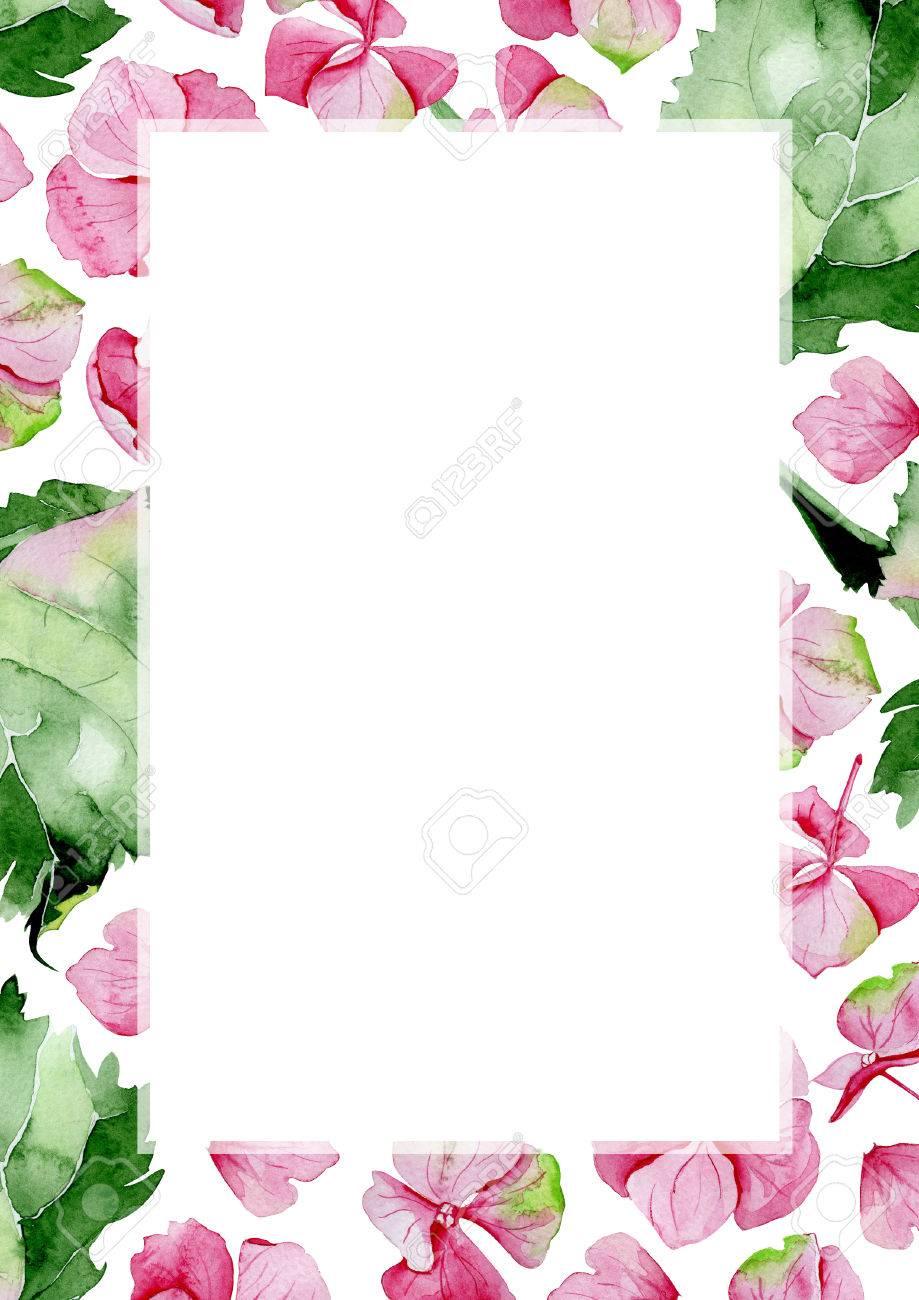 Rosa Aquarell Hydrangea Blumenrahmen Blumengrusskarte Aquarell