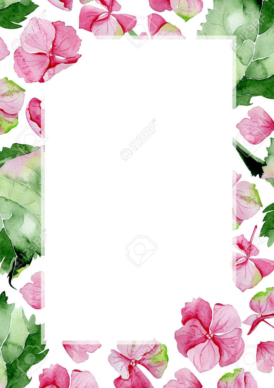 Pink Watercolor Hydrangea Flower Frame Floral Greeting Card