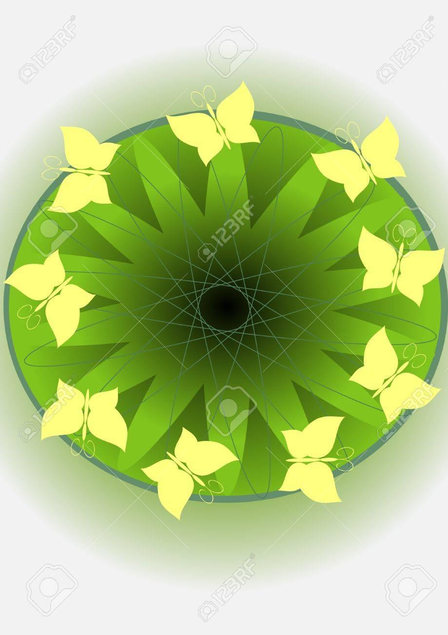 Yellow butterflies on a green circle of an eye Stock Vector - 12841982