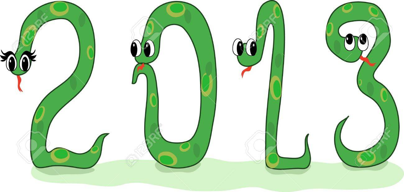 Four Crazy Snakes Designed As Symbols Of 2013 New Year Royalty Free