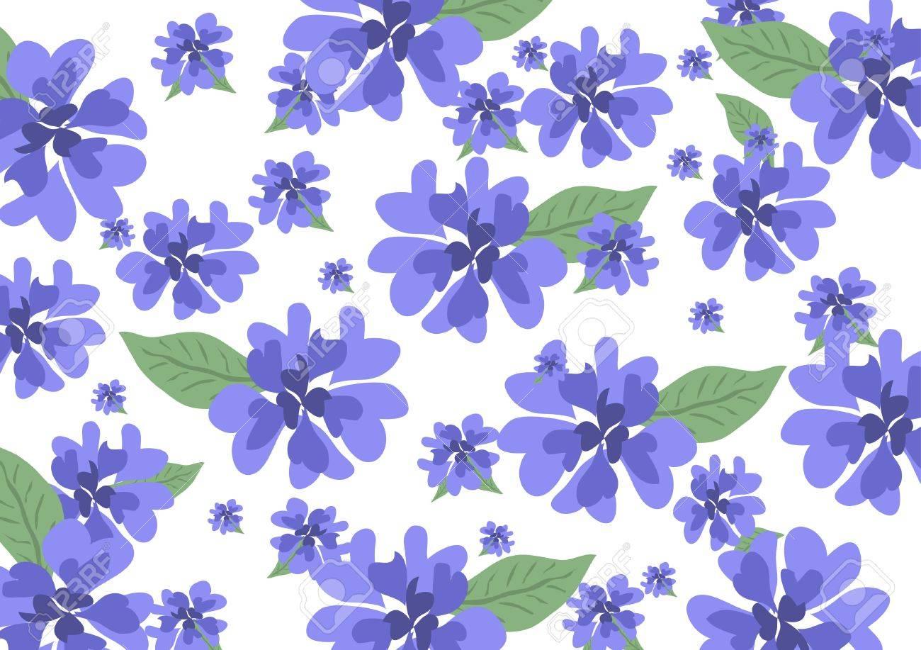 32b34ac0d903 Blumenmuster mit blauen Blumen und Blütenblätter der Herzen Standard-Bild -  16306952