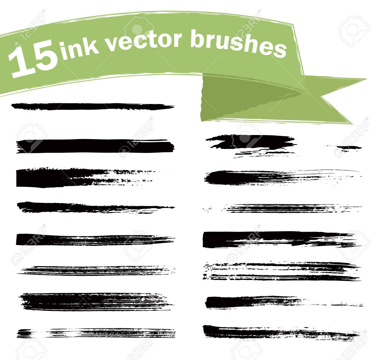 15 ink vector brushes  Paint brush strokes  Elements for design