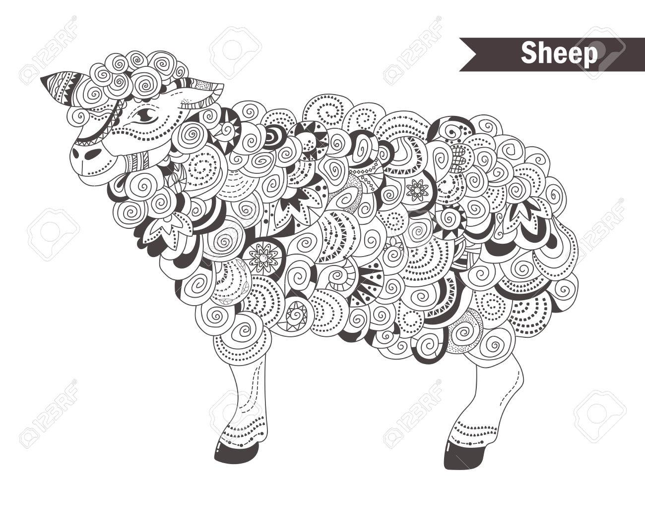 Sheep. Coloring Book For Adult, Antistress Coloring Pages. Hand ...