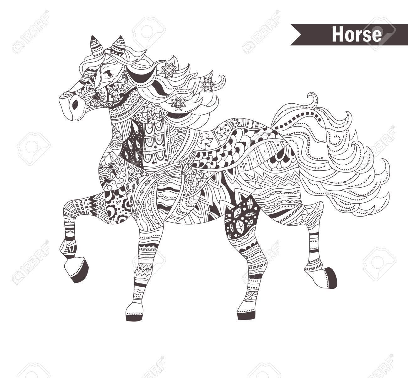 Kleurplaten Voor Volwassenen Koeien.Paard Kleurboek Voor Volwassen Antistress Kleurplaten Hand