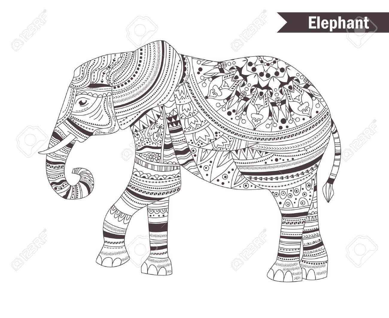 Elefant Malbuch Für Erwachsene Anti Stress Malvorlagen Hand