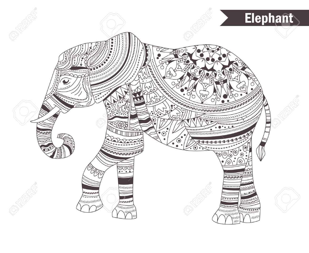Elephant Coloring Book For Adult Antistress Coloring Pages