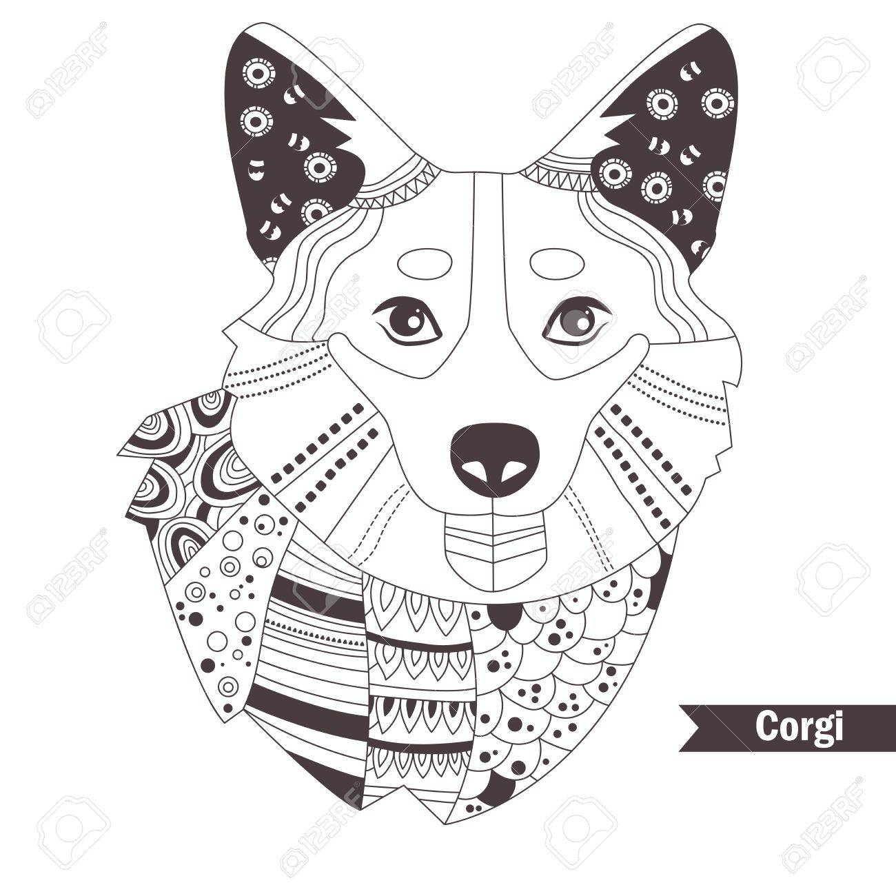 Corgi Coloring Book For Adult Antistress Coloring Pages Hand
