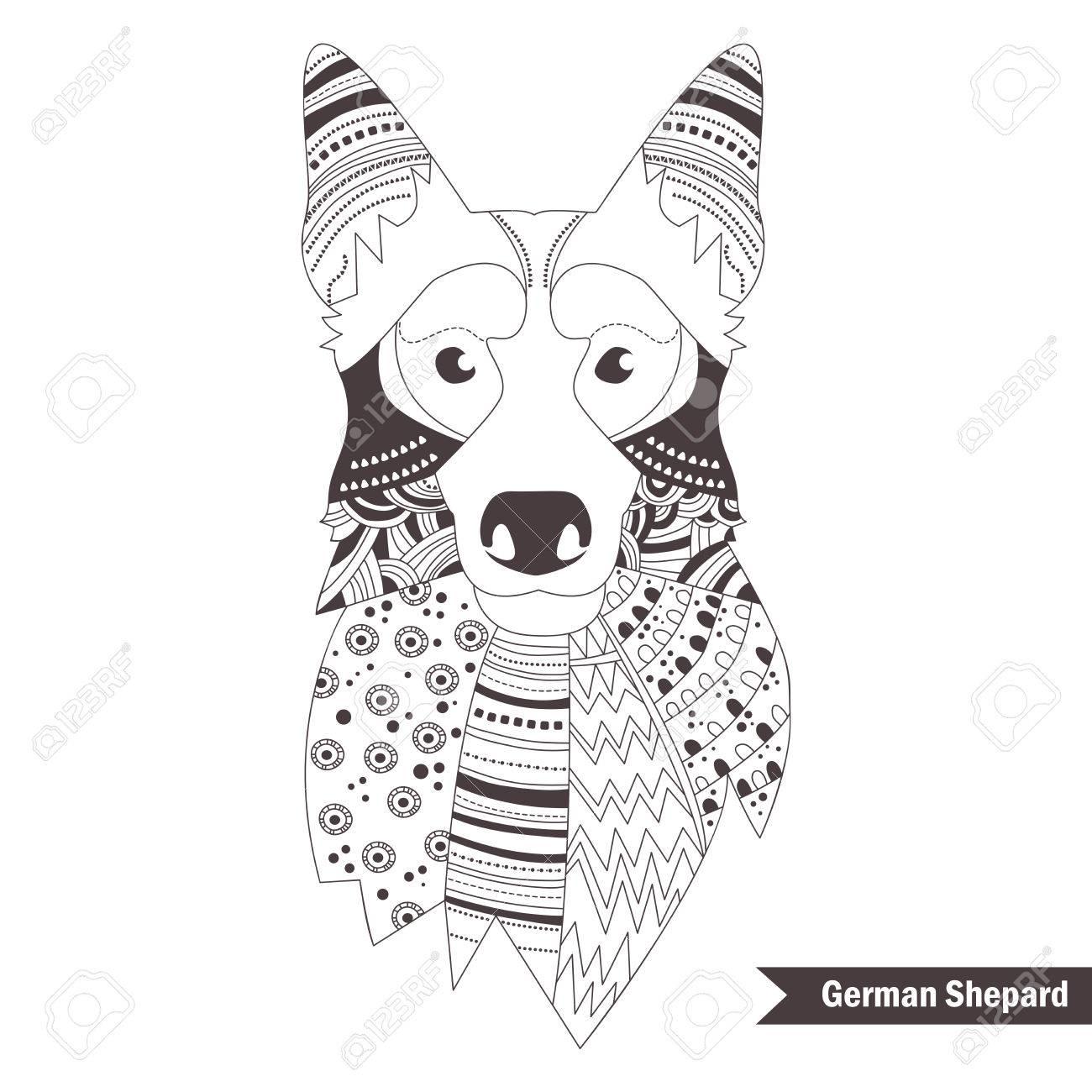 Kleurplaten Voor Volwassenen Giraf.Duitse Herder Kleurboek Voor Volwassen Antistress Kleurplaten