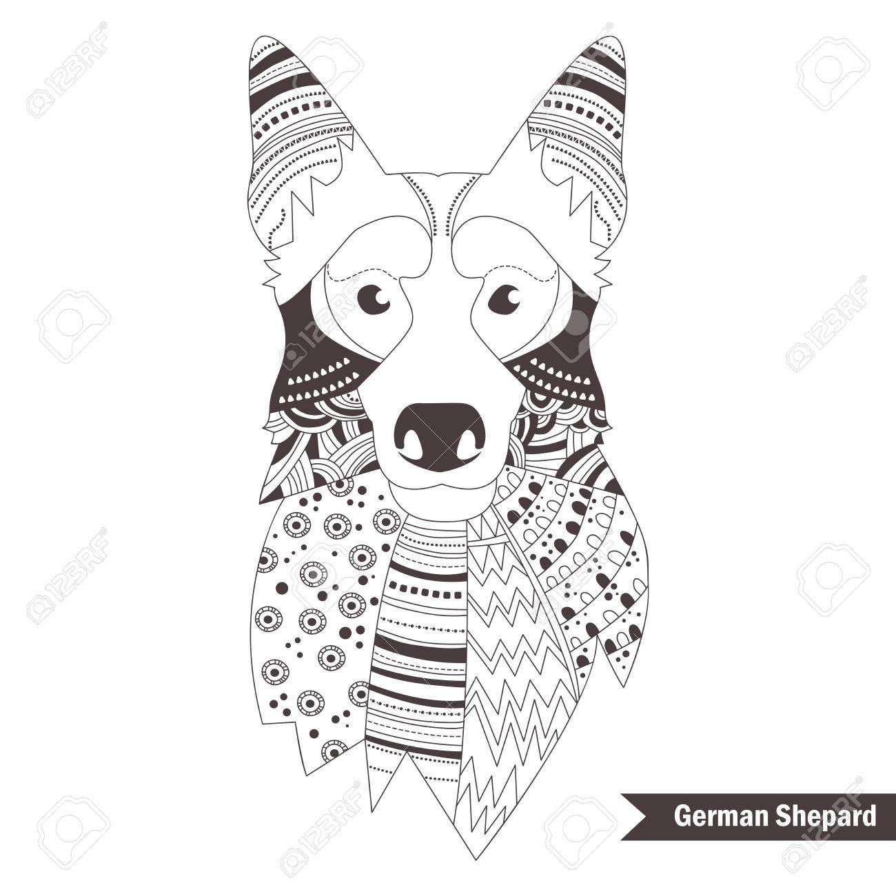 german shepherd coloring book for adult antistress coloring pages hand drawn vector isolated - German Shepherd Coloring Pages