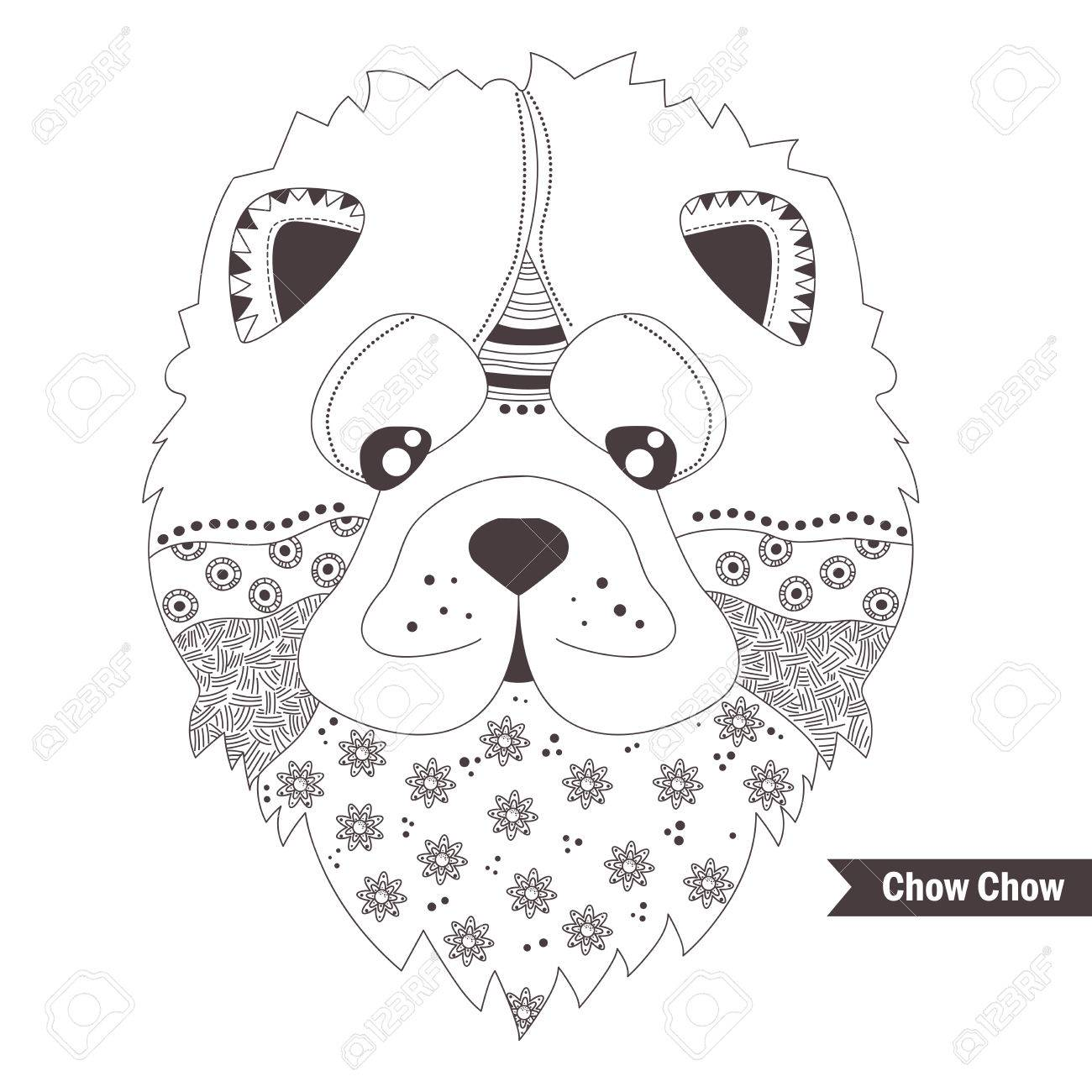 Kleurplaten Honden Voor Volwassenen.Chow Chow Hond Kleurboek Voor Volwassenen Antistress Kleurplaten Hand Getrokken Vector Geisoleerde Illustratie Op Witte Achtergrond Henna Mehendi