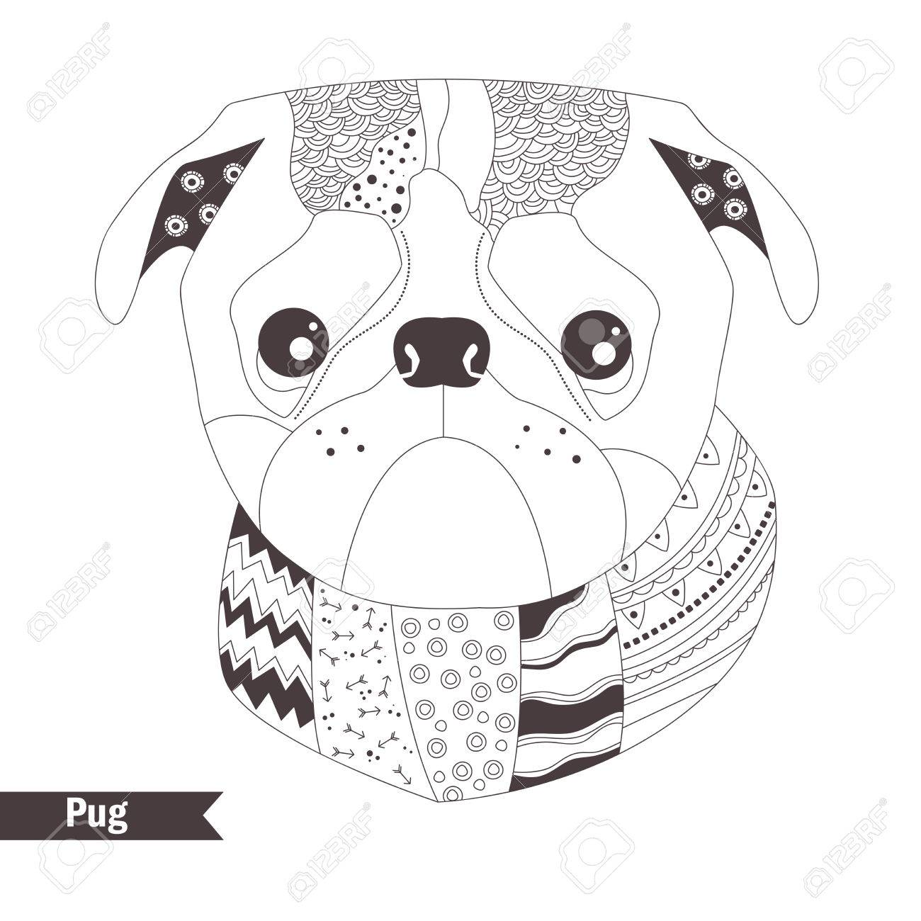 Pug. Coloring Book For Adult, Antistress Coloring Pages. Hand ...